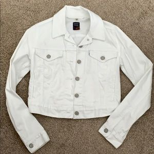 Levi's distressed white denim jacket